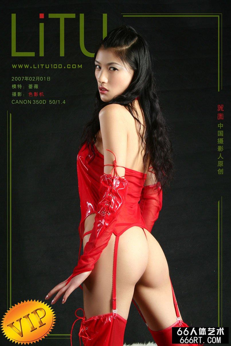 裸模蔷薇07年2月1日棚拍火红情趣内裤